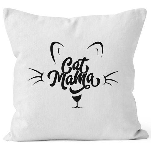 MoonWorks Dekokissen »Kissenbezug Katze Cat Mama Kissen-Hülle Deko-Kissen 40x40 Baumwolle ®«, weiß