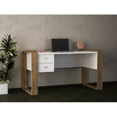 moebel17 Schreibtisch »Schreibtisch Lord Weiß Walnuss«