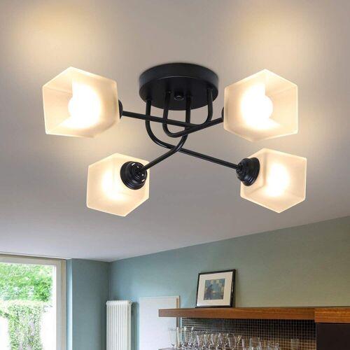 ZMH Deckenleuchte »Deckenlampe Glas und Metall Vintage E27 4 Flammig Weiß Kronleuchter Schlafzimmerlampe Esstischlampe Flurlampe«
