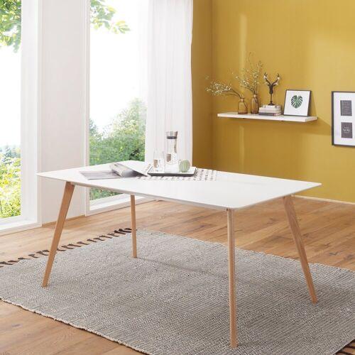 Wohnling Esstisch »WL1.705«, Retro SCANIO 120cm Weiß Matt Eiche Küchentisch Esszimmer Tisch