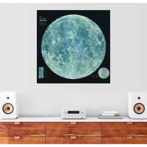 Posterlounge Wandbild, Premium-Poster Mondkarte (Englisch)