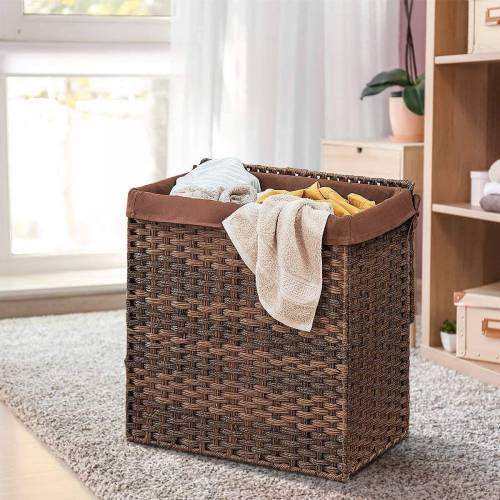 COSTWAY Wäschekorb »Wäschekorb«, faltbar, mit Deckel, 2 Fächer, Braun