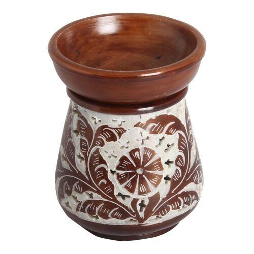 Casa Moro Duftlampe »Orientalische Duftlampe Shakir-6 aus Soapstone geschnitzt 10x10x11 cm (B/T/H) Diffusor, Teelicht-Halter für Aromatherapie, Handmade Aromalampe, SL3010«