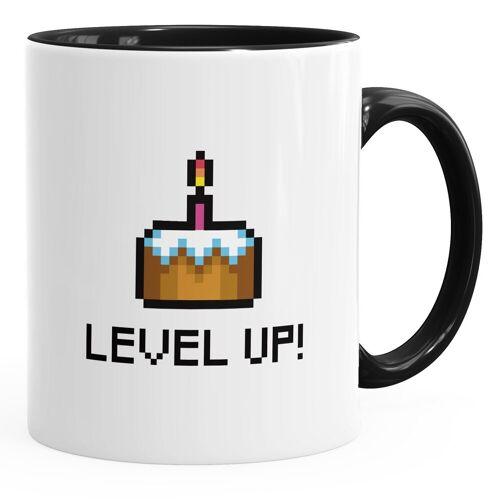 MoonWorks Tasse »Geschenktasse Tasse Geburtstag Level Up Pixel-Torte Retro Gamer Pixelgrafik Arcade ®«