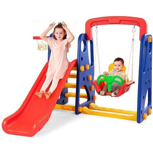 COSTWAY Rutsche »Kinder Rutsche & Schaukel & Basketballkorb Schaukelgerüst, Kinderschaukel«