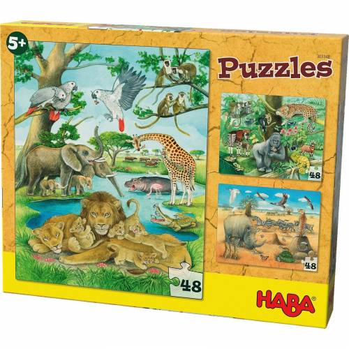 Haba Puzzles - 3 x 48 Teile - Wilde Tiere in Afrika