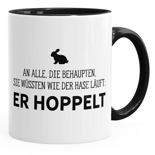 MoonWorks Tasse »Spruch-Tasse an alle die wissen wie der Hase läuft - er hoppelt Kaffee-Tasse ® Innenfarbe«