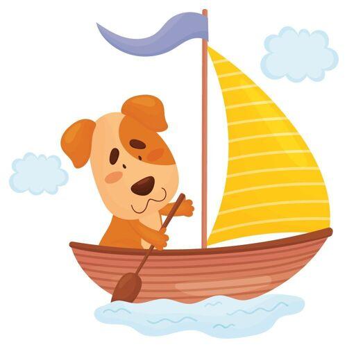 dekodino Wandtattoo »Babyzimmer Tiere - Hund mit Segelschiff« (1 Stück)