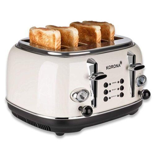 KORONA Toaster 21676, 4 Scheiben, Creme, Röstgrad- Anzeige