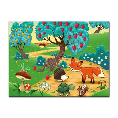 Bilderdepot24 Leinwandbild, Leinwandbild - Kinderbild - Tiere im Wald