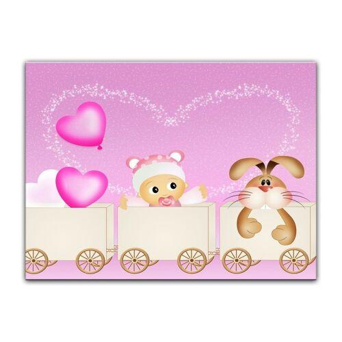 Bilderdepot24 Leinwandbild, Leinwandbild - Kinderbild - Baby rosa