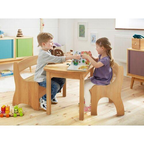 BioKinder - Das gesunde Kinderzimmer Kindersitzgruppe »Levin«, mit Tisch, Sitzbank und Stuhl, Sitzhöhe 30 cm, Erle