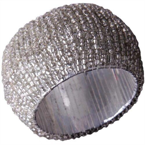 Bestlivings Serviettenring, Glasperlen, (1-tlg), Serviettenring, Handarbeit, Glasperlenring, Silber Weiß