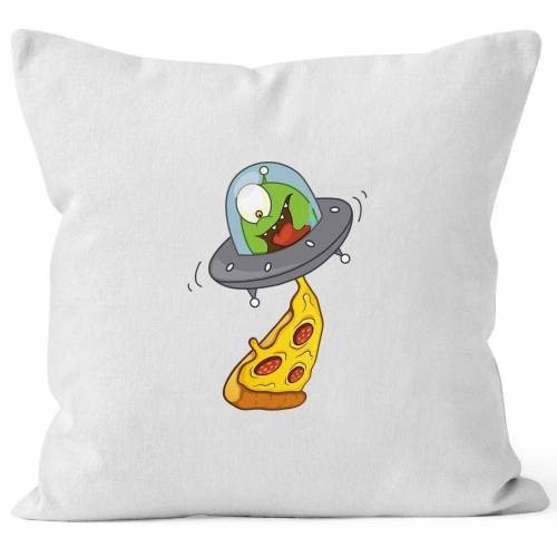 MoonWorks Dekokissen »Kissen-Bezug Pizza Ufo Alien Kissen-Hülle Deko-Kissen Baumwolle ®«