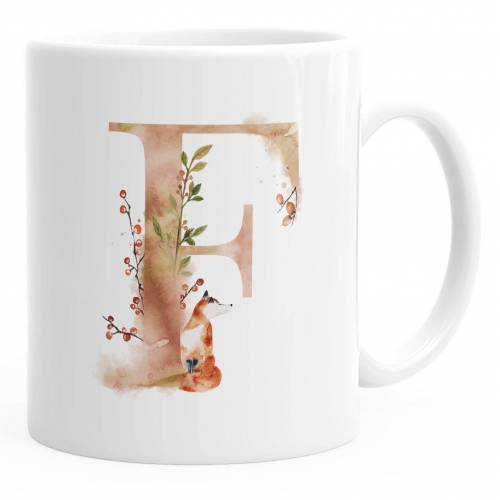 """Autiga Tasse »Buchstaben-Tasse """"F"""" Tasse mit Buchstabe Alphabet Monogramm Watercolor gezeichnet Kaffeetasse ®«"""