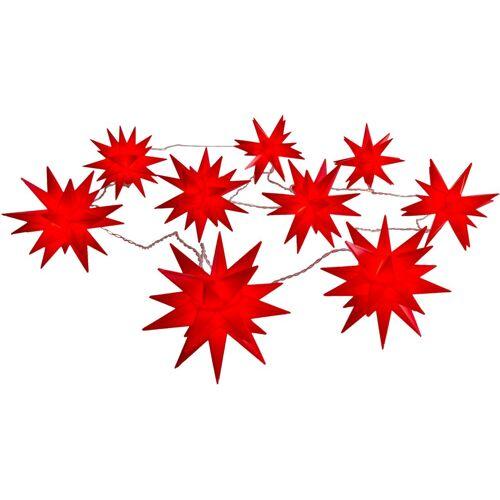 näve LED-Lichterkette »9er-Outdoor-LED-Weihnachtslichterkette 3D-Sterne - rot«, 9-flammig, 3D-Stern, rot