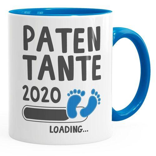 MoonWorks Tasse »Kaffee-Tasse Patentante 2020 loading Geschenk-Tasse für werdend{e_en_t_Patentante} Patentante Schwangerschaft Geburt Baby Tee-Tasse ®«, blau