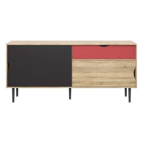 ebuy24 Sideboard »Una Sideboard Eiche Struktur, koksgrau und terrako«
