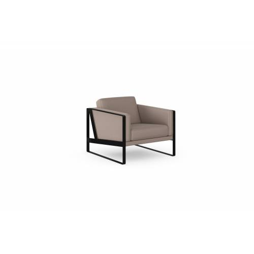 machalke® Loungesessel »frame«, Ledersessel mit Kufe in Schwarz, grey HUNTER