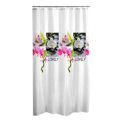 dynamic24 Duschvorhang Breite 180 cm, Textil Wannenvorhang Lovely 180x200 Motiv Badewannenvorhang Bad Dusche Vorhang