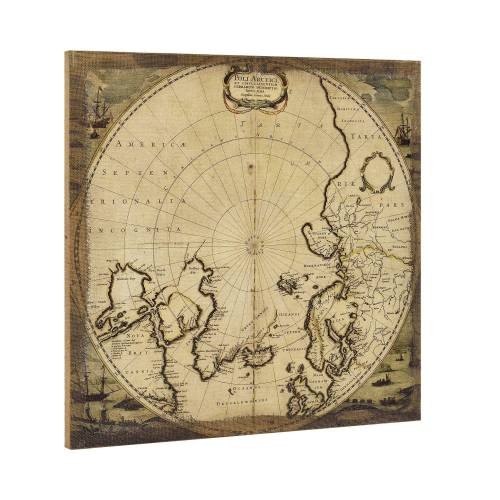 ART work Leinwandbild, Nordpol-Karte auf Leinwand 60x60 Gerahmt