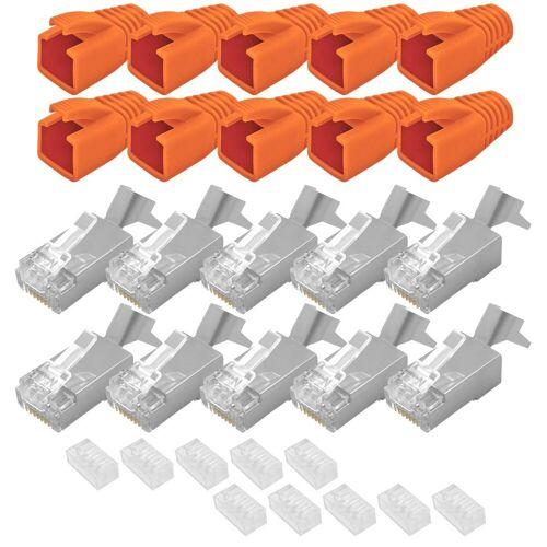 ARLI »Netzwerkstecker« Netzwerk-Adapter RJ45, 10x Netzwerk Stecker mit Zugentlastung, Einführhilfe und Tülle für Verlegekabel Cat7
