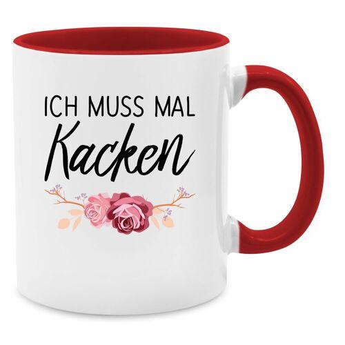 Shirtracer Tasse »Ich muss mal kacken - Tasse zweifarbig - Tassen«, Statement Tasse, 04 Rot