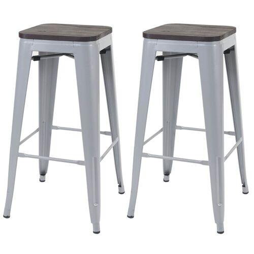 MCW Barhocker »-A73-Barhocker« (Set, 2er), Stapelbar, Fußstütze für bequemeres Sitzen, grau,dunkelbraun