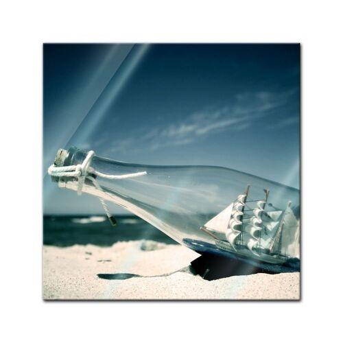 Bilderdepot24 Wandbild, Glasbild - Buddelschiff - Schiff in der Flasche