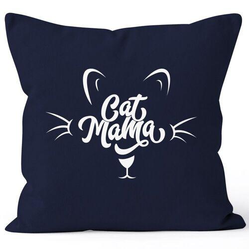 MoonWorks Dekokissen »Kissenbezug Katze Cat Mama Kissen-Hülle Deko-Kissen 40x40 Baumwolle ®«, navy