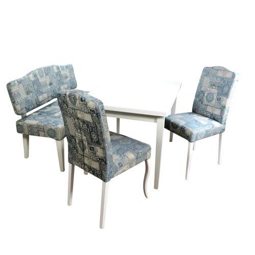 moebel-direkt-online Essgruppe »Dirk«, (Spar-Set, 4-tlg., 1 Esstisch mit Auszügen, 2 Stühlen und 1 Sitzbank), Stühle und Sitzbank montiert, Esstisch zur Selbstmontage, weiß/blau