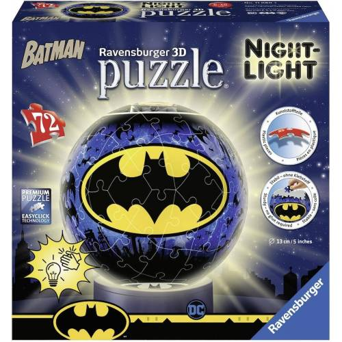 Ravensburger Puzzleball »Nachtlicht Batman«, 72 Puzzleteile, mit Leuchtmodul inkl. LEDs