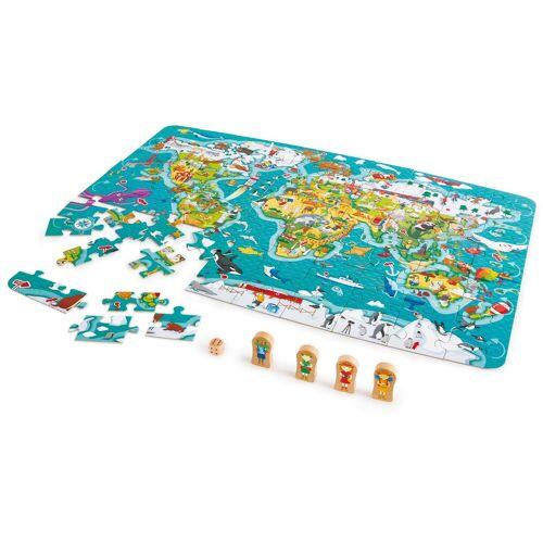 Hape Puzzle »2in1 Weltreise«, 105 Teilig, Puzzle und Spiel in Einem