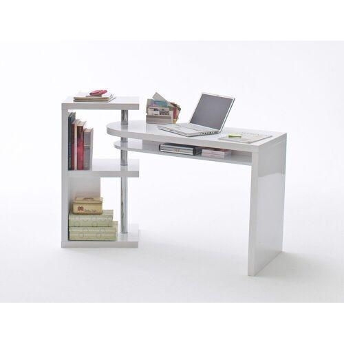 expendio Schreibtisch »Mats«, weiß Hochglanz 145x50x94 cm MDF mit integriertem Regal