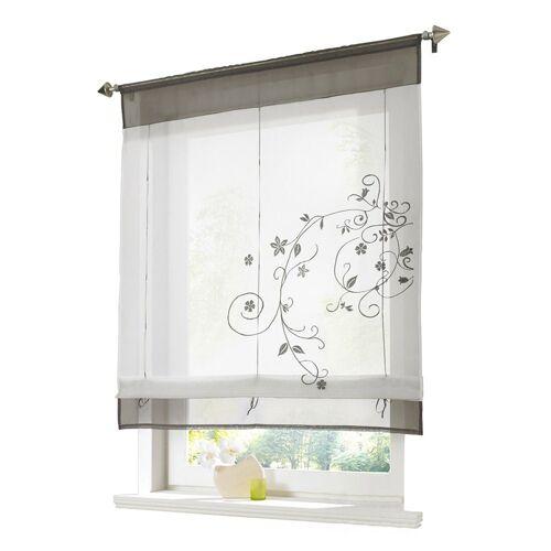 i@home Raffrollo »Bestickt Raffgardine Vorhang Gardine Fenstervorhang Scheibengardinen«, , mit Schlaufen, Grau
