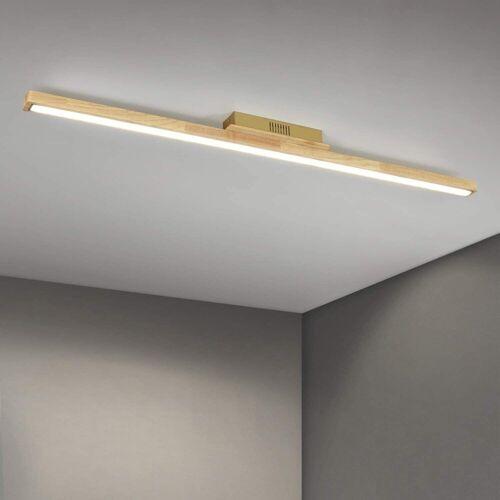 ZMH Deckenleuchte »Holz 113cm Lang Bürolampe LED Wohnzimmerlampe 4000K Neutralweiß, 1 Flammig Innen Deckenlampe, 28 Watt, 2240 Lumen«
