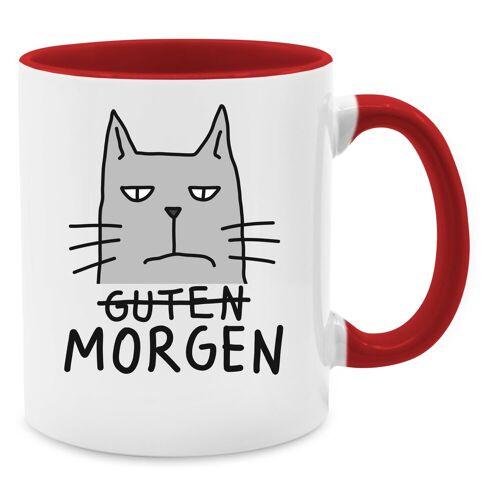 Shirtracer Tasse »Guten Morgen Katze - Tasse zweifarbig - Tassen«, Tasse mit Spruch, 03 Rot