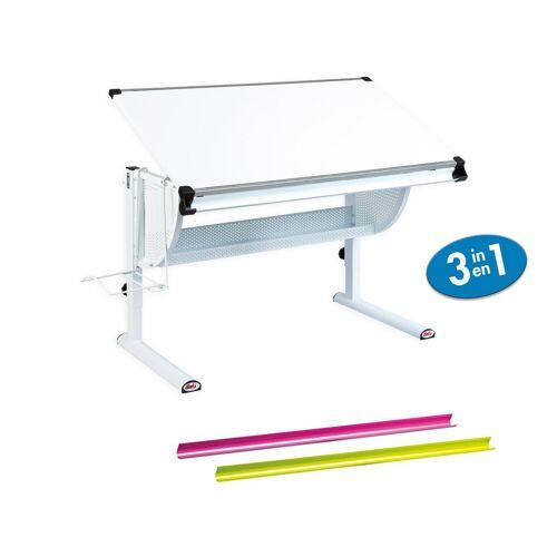 ebuy24 Schreibtisch »Matkan Schreibtisch weiss, weiss/pink/grün.«