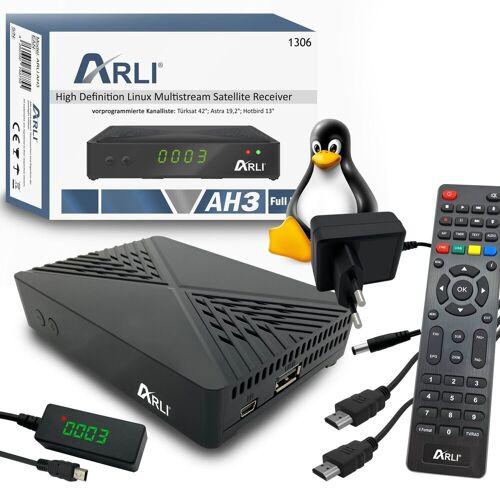 ARLI »AH3 Linux Sat Receiver« 1 SAT-Receiver (ja, Vorprogrammierte Sat Kanalliste Astra Hotbird Türksat + Web TV Player Stalker Xtream Youtube)