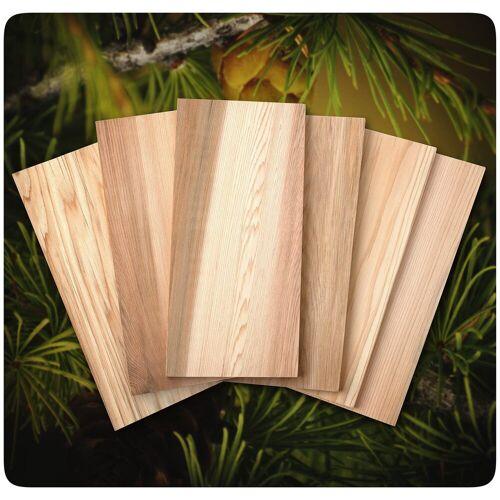 PRECORN Grillplatte »Zedernholzbrett 6 Stck. zum Grillen Grillbretter für volles Aroma bei Fisch Gemüse Fleisch Räucherbretter aus Zedernholz«, Zedernholz