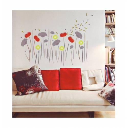 dynamic24 Wandtattoo, 4x XL Wandtattoo Set Wandsticker Wand Aufkleber Blumen Ornamente Tattoo Sticker Wildblumen