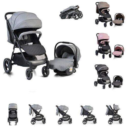 Moni Kombi-Kinderwagen »Kinderwagen, Babyschale Sindy 2 in 1«, klappbar, Babyschale 0+, Vorderräder schwenkbar, grau