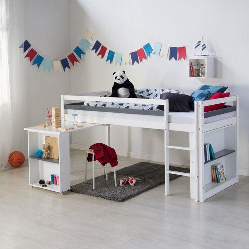 Homestyle4u Hochbett Kinderbett mit Schreibtisch und Regal