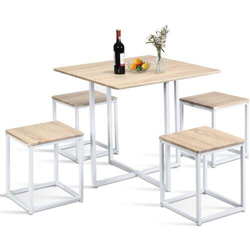 COSTWAY Essgruppe »Essgruppe«, (Set, 5-tlg), Küchentisch und 4 Stühle