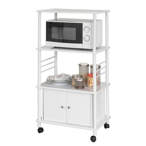 SoBuy Küchenwagen »FRG12«, Küchenschrank Rollschrank Mikrowellenschrank, weiß