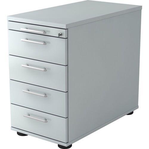 bümö Container »OM-SC50« mit Schloss & 5 Schubladen - Schreibtisch Bürocontainer, Standcontainer fürs Büro - Dekor: Grau, Grau