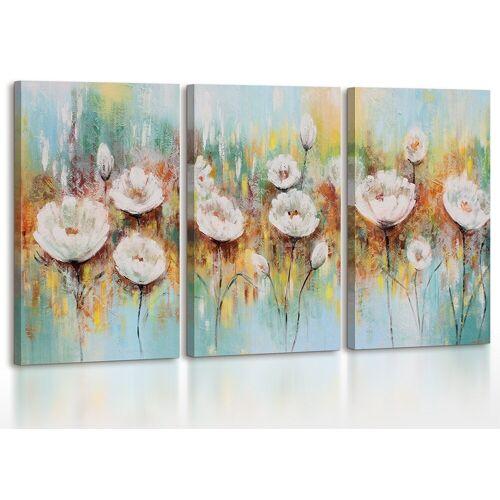 ART YS-Art Gemälde »Weiße Mohnblumen 087«