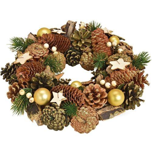 matches21 HOME & HOBBY Adventskranz »Weihnachtlicher Türkranz Weihnachtskranz 33 cm goldfarben dekoriert«