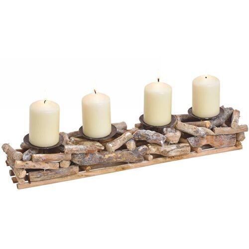 matches21 HOME & HOBBY Dekofigur »Rustikales Adventsgesteck 4 Kerzenhalter« (4 Stück)