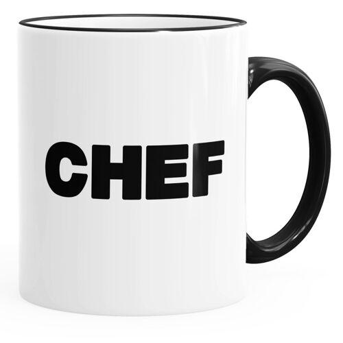 MoonWorks Tasse »Kaffee-Tasse Chef-Tasse mit farbiger Kante und Henkel ®«